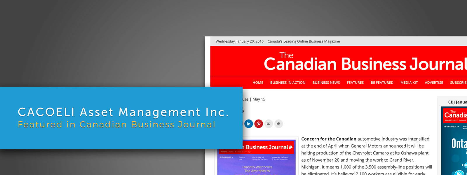 Canadian Business Journal Feature